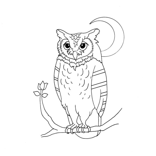 PRINTABLE Great Horned Owl Coloring Page Digital Art  Moon Bird Nature  Kids Adult Coloring Sheet