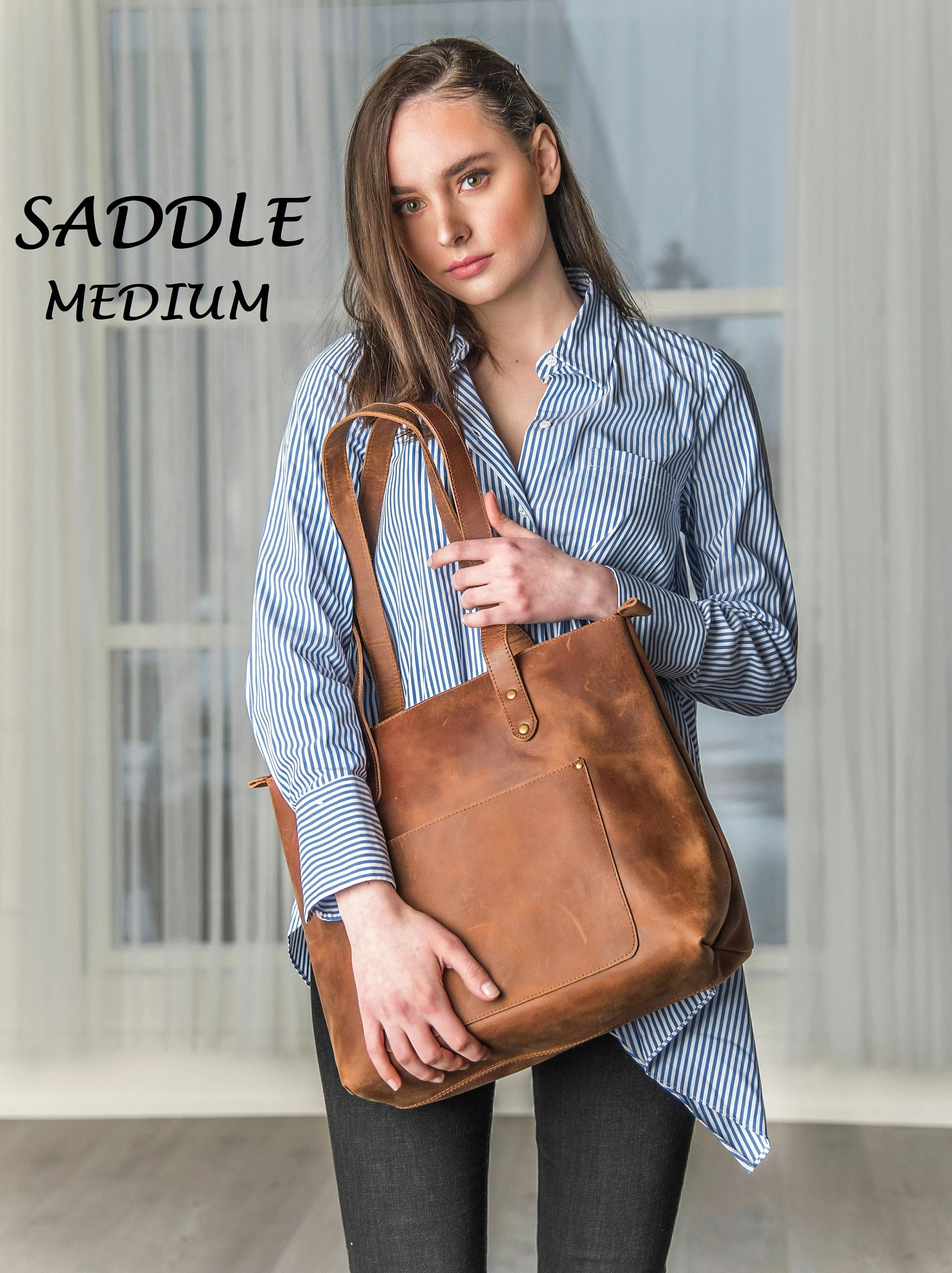Personalized Leather Tote Bag Women's Leather Handbag image 3