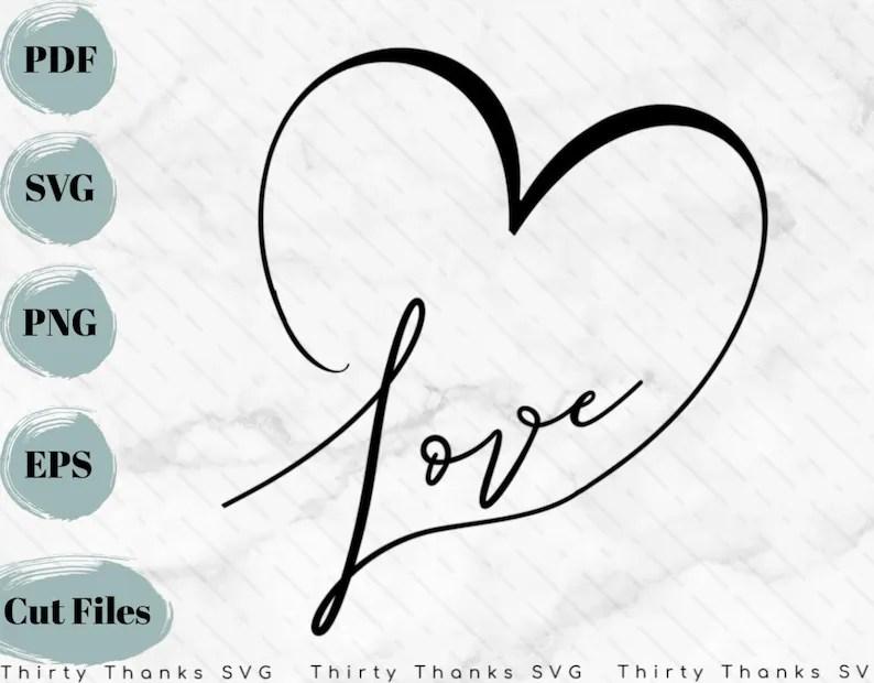 Download Love Heart SVG Love SVG Cursive Love SVG Digital Graphic ...