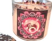 Capricorn Candle, Crystal Herbal Candle, Capricorn Gift, Zodiac Gift, Adorned w/ Rose Petals + Lavender Buds, 14.5 oz, Large 3 Wick Candle
