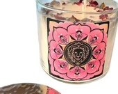 Leo Candle Adorned w/ Rose Petals, Lavender Buds + Gemstones, 14.5 oz., Three Wick Candle by Namaste Home, Leo Gift, Zodiac Gift