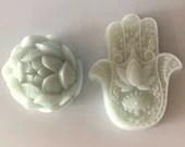 Namaste Home White Lotus Oil Organic Goatmilk Decorative Hamsa Handpoured Soap Bar