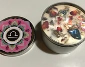 Libra Candle, Libra Gift, Zodiac Candle, Astrology Candle, Friend, Mother, Daughter Gift, Handmade Candle with Rose Petals, Buds + Crystals
