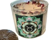 Taurus Candle Adorned w/ Rose Petals, Lavender Buds + Gemstones, 14.5 oz., Three Wick Candle by Namaste Home, Taurus Gift, Zodiac Gift