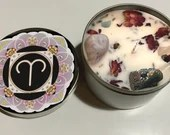 Aries Candle, Aries Gift, Zodiac Candle, Astrology Gift, Handmade Candle with Crystals, Rose Petals, + Lavender Buds