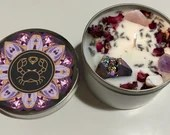 Cancer Candle, Cancer Zodiac Gift, Astrology Candle, Handmade Candle with Lavender Buds, Rose Petals + Crystals