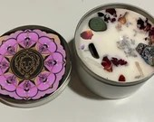 Leo Candle, Leo Gift, Zodiac Candle, Astrology Candle, Handmade Candle with Rose Petals, Lavender Buds + Crystals, Birthday, Christmas, Gift