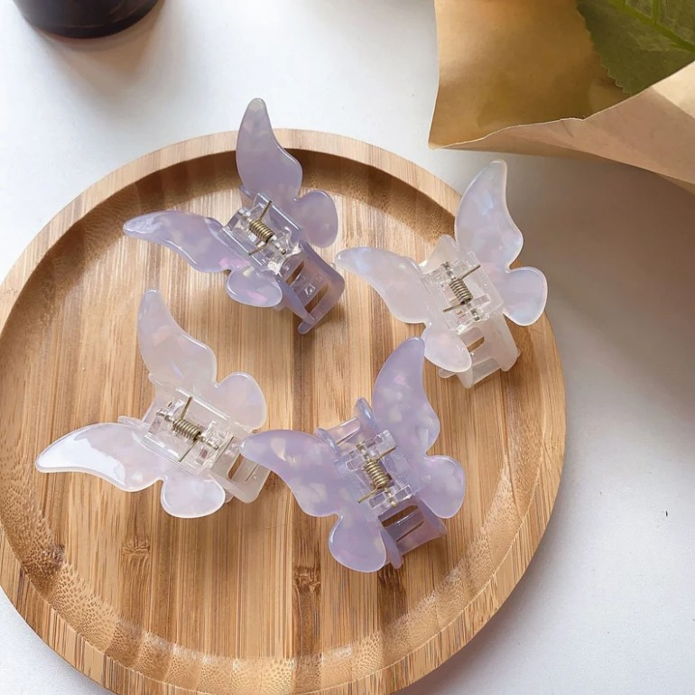 White Purple Butterfly hair clips Simple butterfly Hair Claw image 0