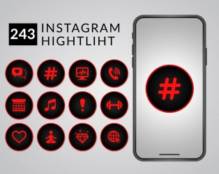 Red and black Instagram Highlight Covers Instagram Highlight Etsy