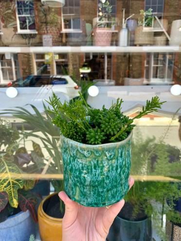 Vibrant green handthrown ceramic plant pot / planter image 0