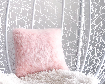 pink faux fur pillow etsy
