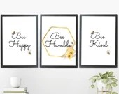 x3 Bee Wall Art Print, Bee Happy, Bee Humble, Bee Kind. Set of 3 Quality Digital Wall Decor prints. Digital Download
