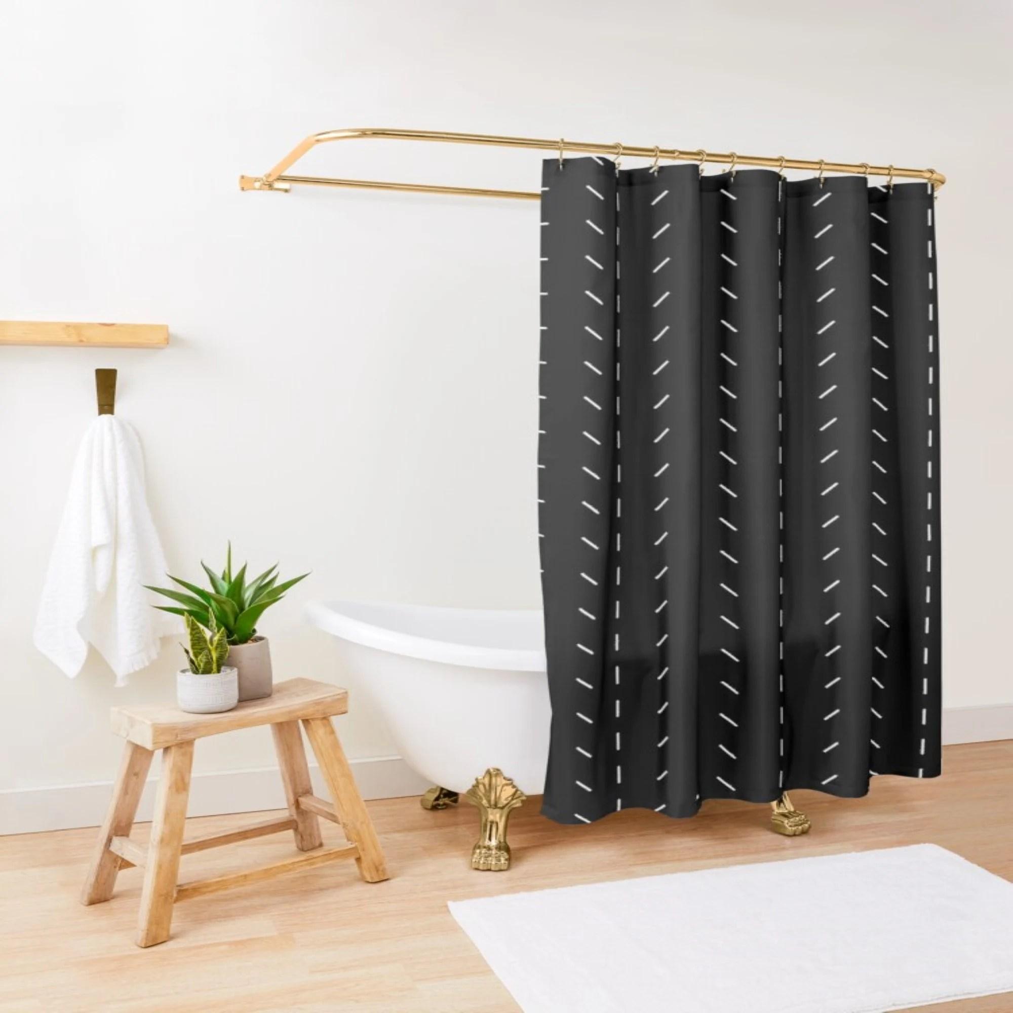 black shower curtain etsy