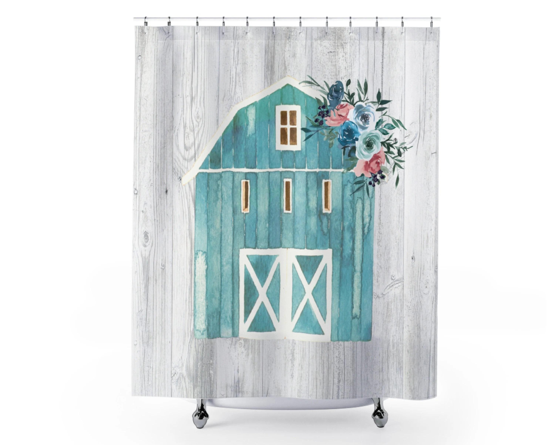 barn shower curtain rustic farmhouse bathroom shower blue bathroom decor country bathroom new homeowner housewarming gift flowers