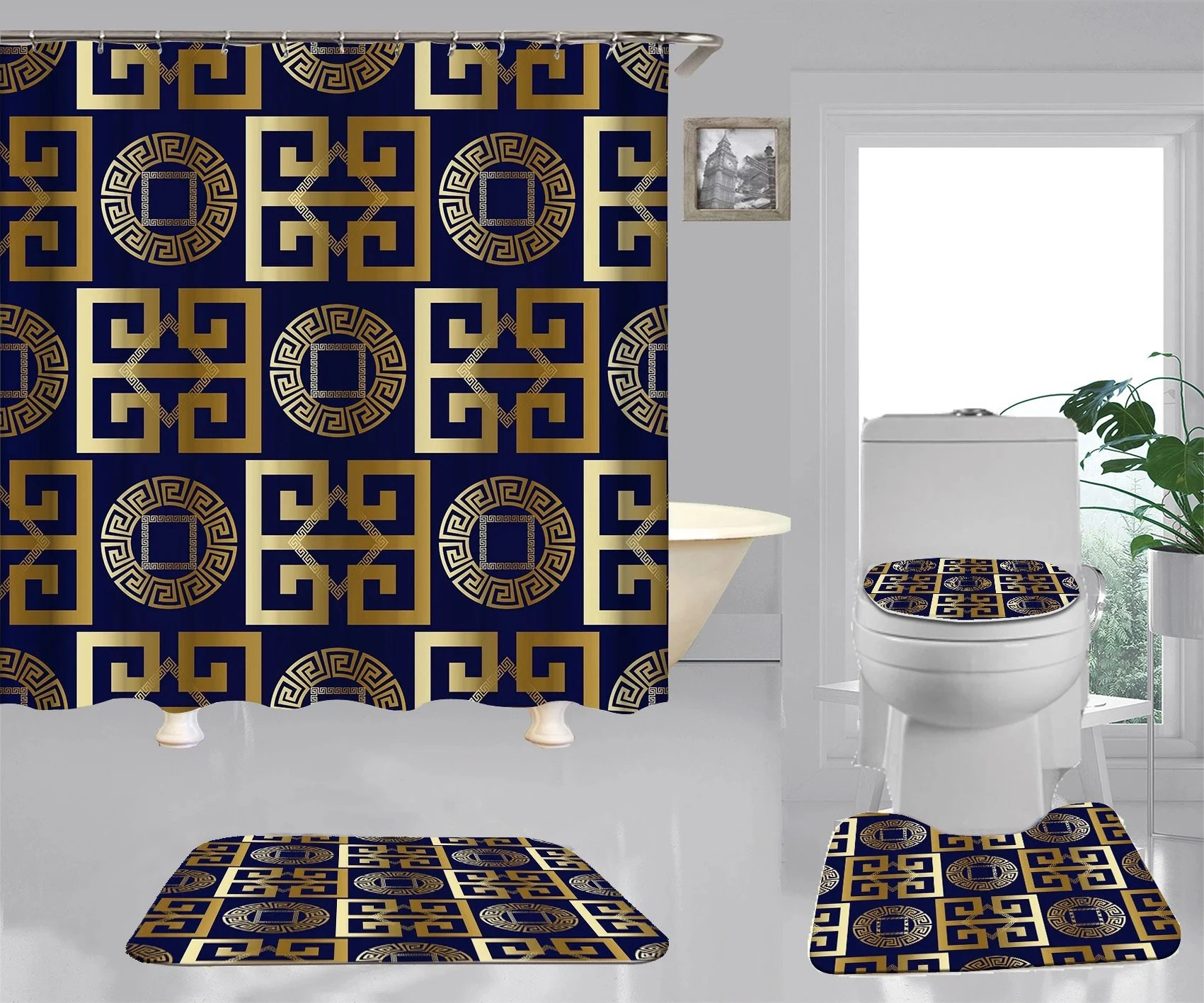 black and gold shower curtain etsy
