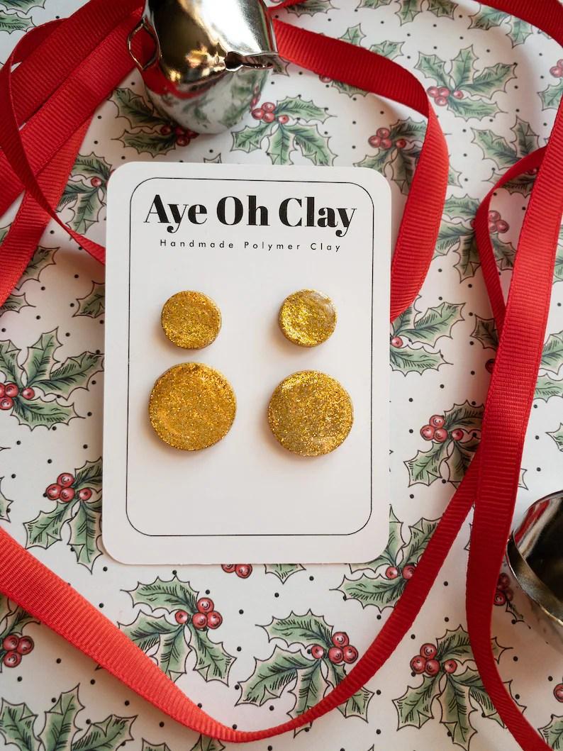 Maxi & Mini Stud Pack Gold Glitter Mixed Stud Pack Polymer image 0