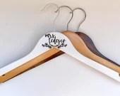 Engraved Bride Hanger | Personalized Name | Bridal Gift | Bridal Shower Present | Wedding Dress | White | Floral Design | Wooden Engraving