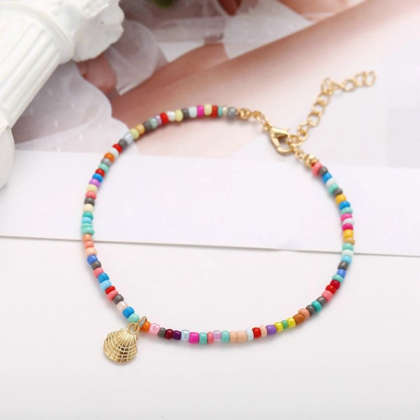 Fashionable Alloy Shell Rice Bead Anklet Colourful Beaded Style Gold lobster