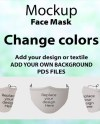 Cotton Textured Safety Face Mask Mockup Editable Unisex Mask Etsy