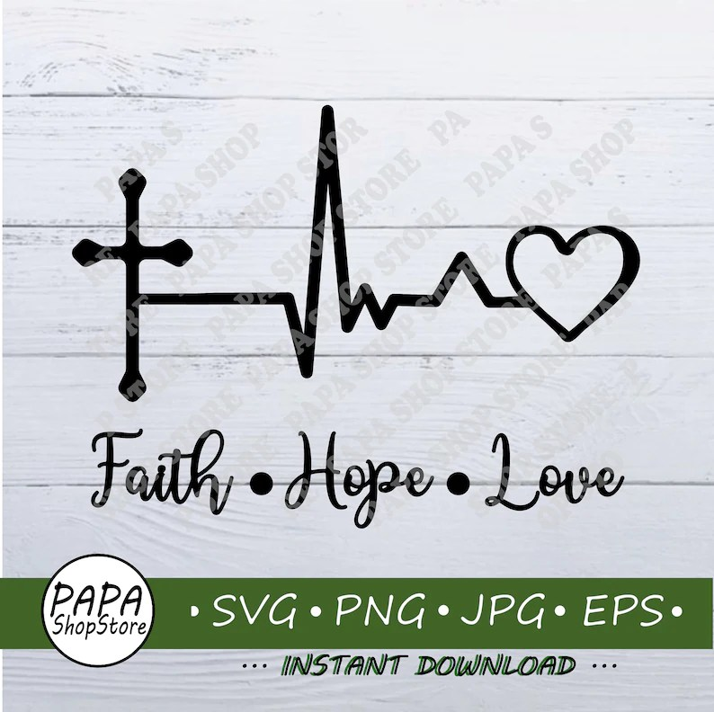 Download Heart Beat Faith Hope Love SVG Jesus Lover T-Shirt ...