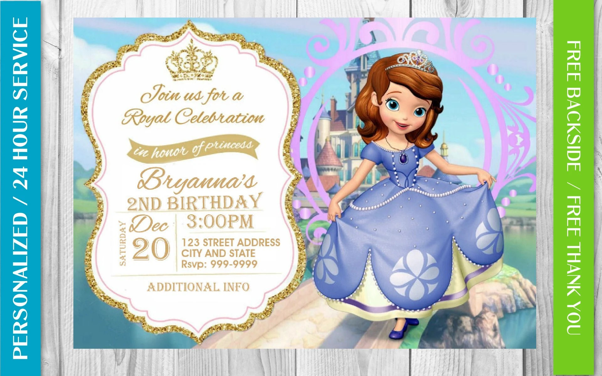sofia the first invitation etsy