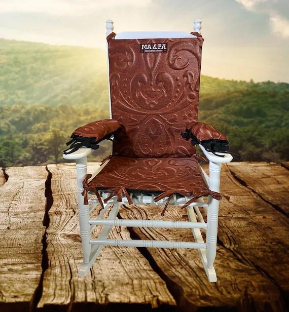 leather rocking chair and adirondack cushion or padrocking etsy