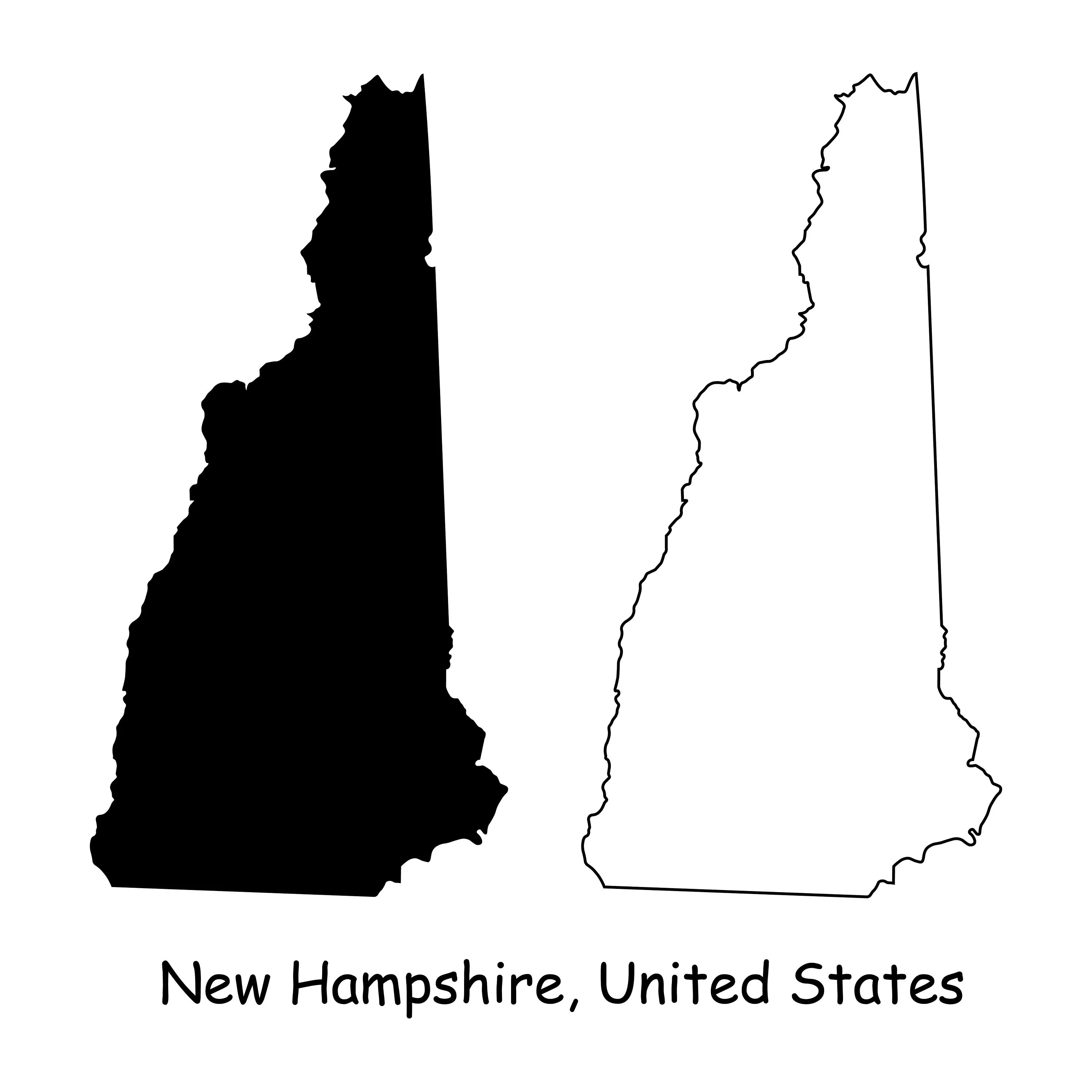 The granite state (its nickname) has a short coastline (24 … New Hampshire Map Svg Nh Usa United States Of America Us Etsy