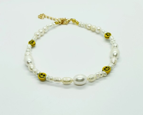 Pearl Anklet Pearls and smiley anklet Pearl Anklet Gemstone image 2