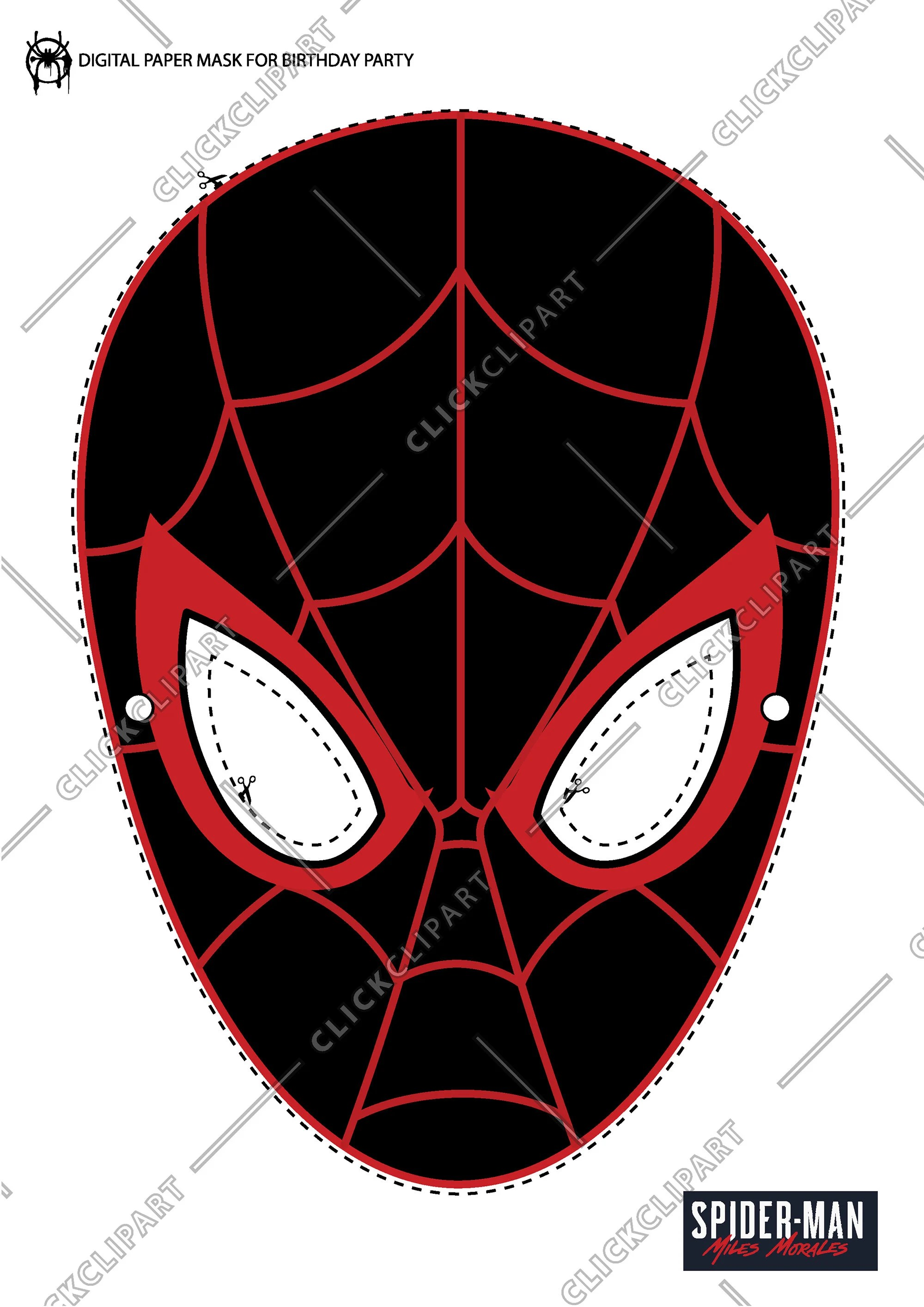 How To Draw Miles Morales Face : miles, morales, Miles, Morales, Spider-Man, Birthday, Party, Digital, Paper