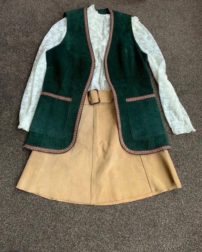 Vintage Beige Suede Mini Skirt 60s 70s Mod Boho image 0