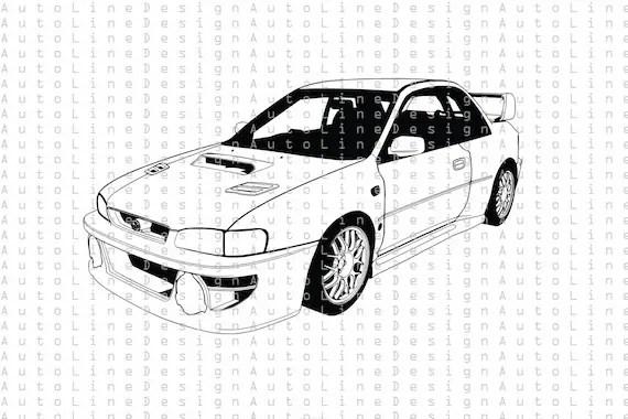 Subaru Impreza WRX STI 1997 SVG Pdf Dxf Eps Png GC8D GC8E