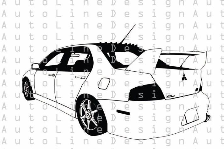 Mitsubishi Lancer EVO 8 Svg Pdf Dxf Eps illustration