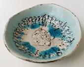 Ceramic Boho Bowl Turquoise Vintage Bowl Shabby