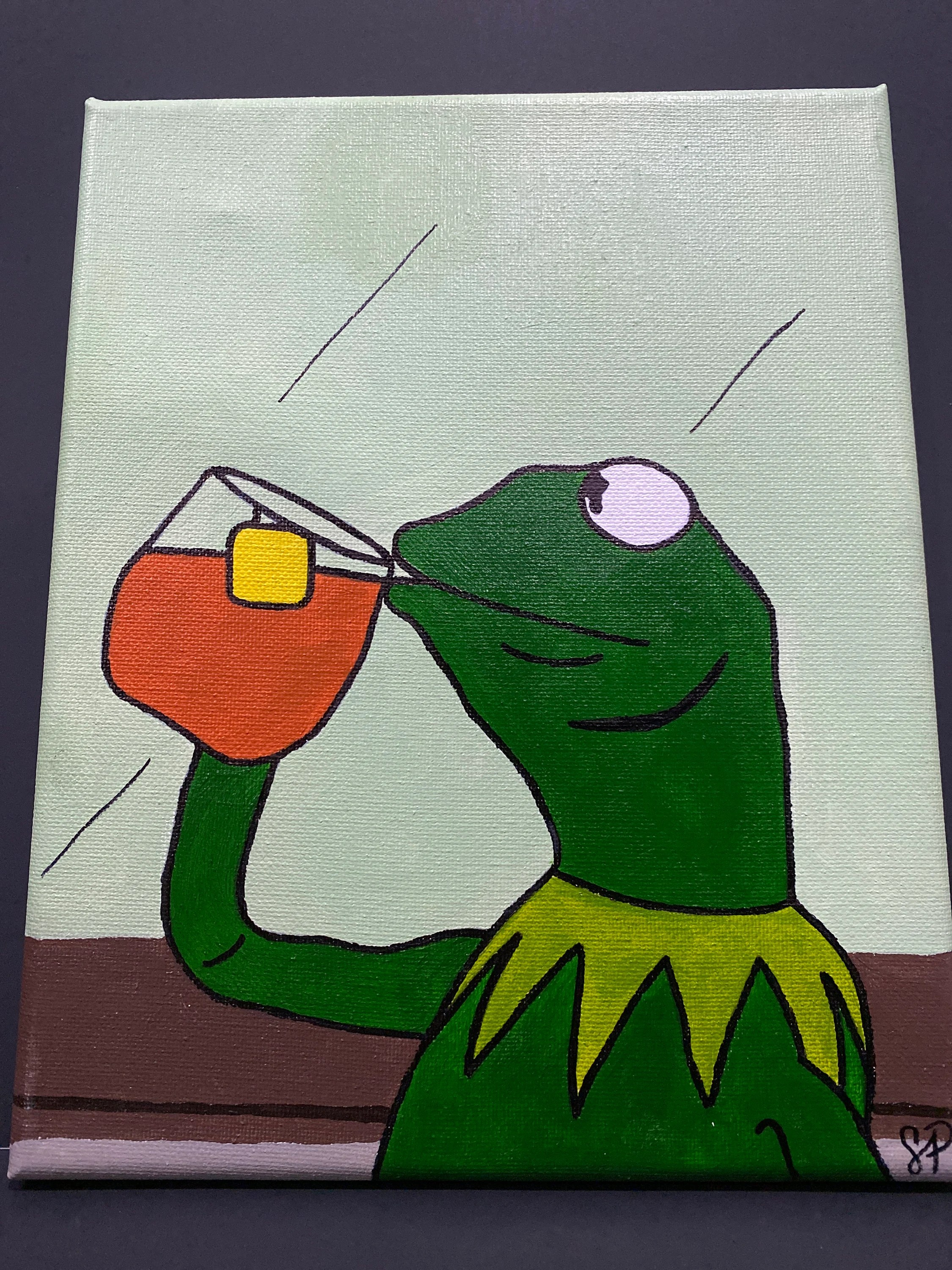 Kermit Meme Painting : kermit, painting, Kermit, Sipping, Painting