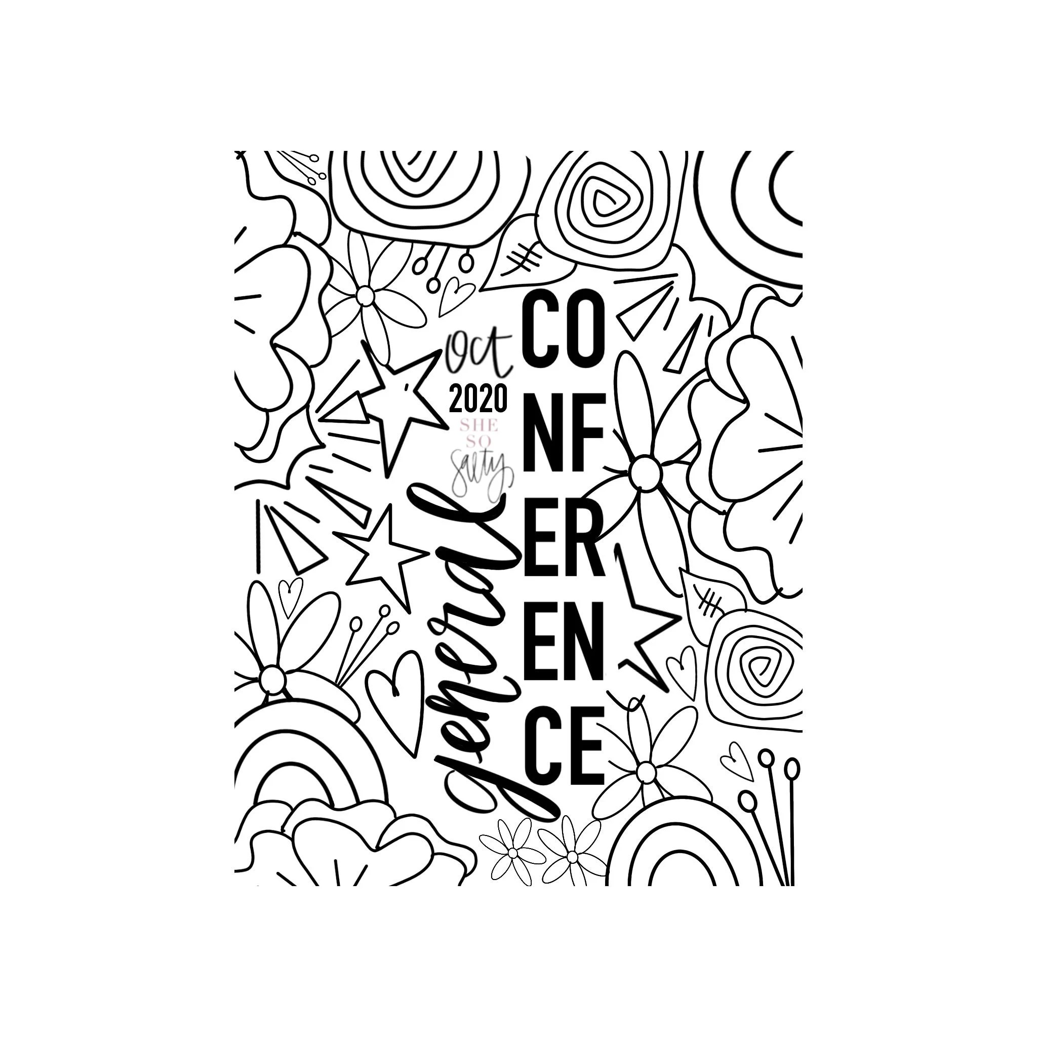 LDS General Conference Notes and Coloring Packet 18 pages