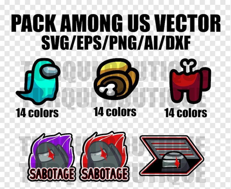 Download Pack Among Us Vector SVG/DXF/AI Print T-Shirt Vector ...