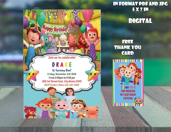 digital cocomelon invitation personalized plus thank you cards and cupcake tags free digital file only
