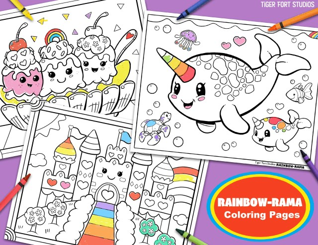 Kawaii Rainbow-Rama Coloring Bundle! Narwhal, Magic Castle, Ice Cream  Banana Split, INSTANT DOWNLOAD Coloring Pages