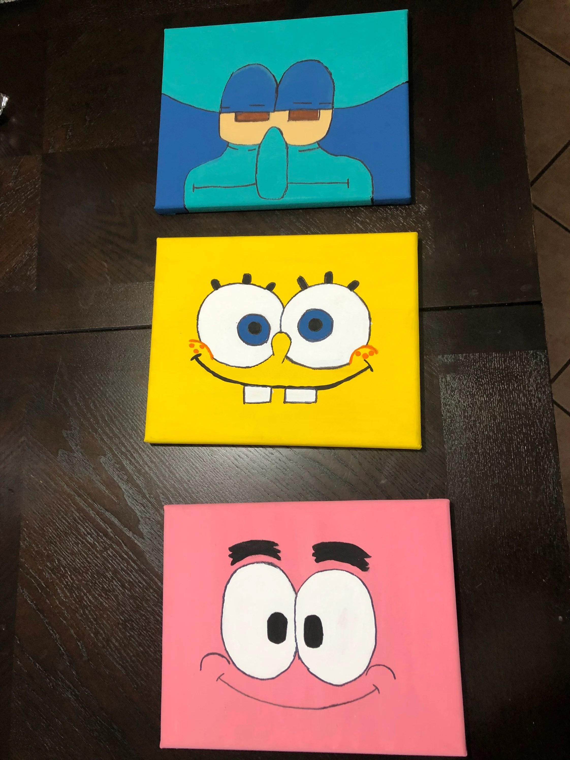 Spongebob Patrick And Squidward : spongebob, patrick, squidward, Spongebob, Patrick, Squidward, Painting