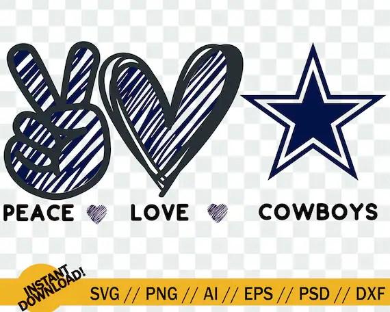 Download Peace Love Cowboys SVG cow boys Dallas Cowboys peace love ...