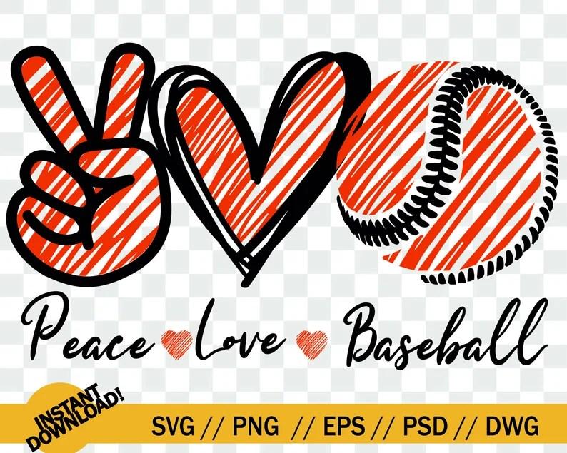 Download Peace Love Baseball SVG Baseball peace love SVG File | Etsy