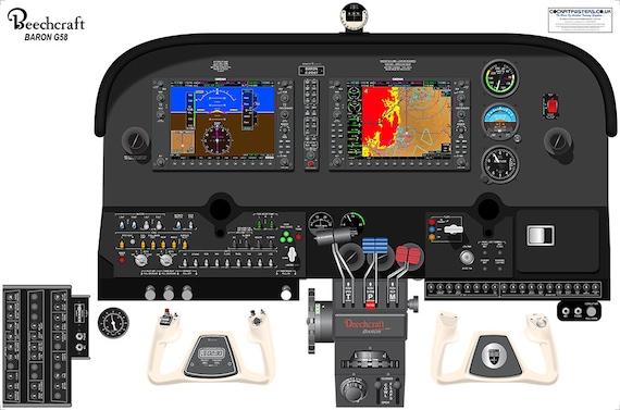 buche baron g58 g1000 glascockpit cockpit poster