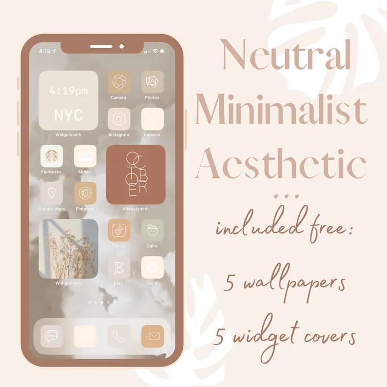 16 light & dark wallpapers. Neutral iOS 14 App Icons Minimalist Aesthetic iPhone Home ...