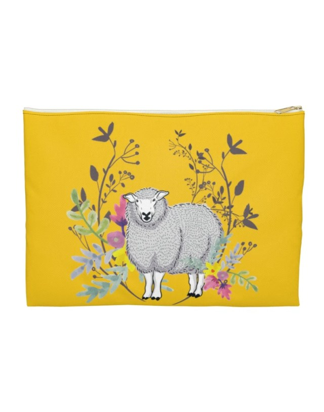 Project bag, yellow with flowers and a sheep on the front.