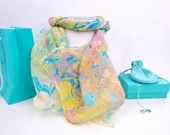 Long silk scarf handmade in the UK, floaty handmade scarf for women, gift boxed, OOAK gifts, unique scarf, Breeze