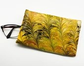 Glasses case - spectacles case - soft case - squeeze opening - yellow and black palms glasses case - marbled glasses case - 17 x 10.5 x 1cm
