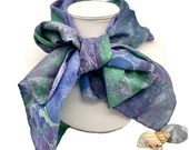 Long Silk Scarf - Silk hair scarf - Unique Silk Head scarf - Silk Scarf Women - Hand Dyed Silk Scarf - Christabel