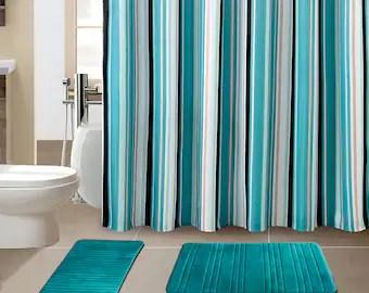 bathroom shower curtain sets etsy