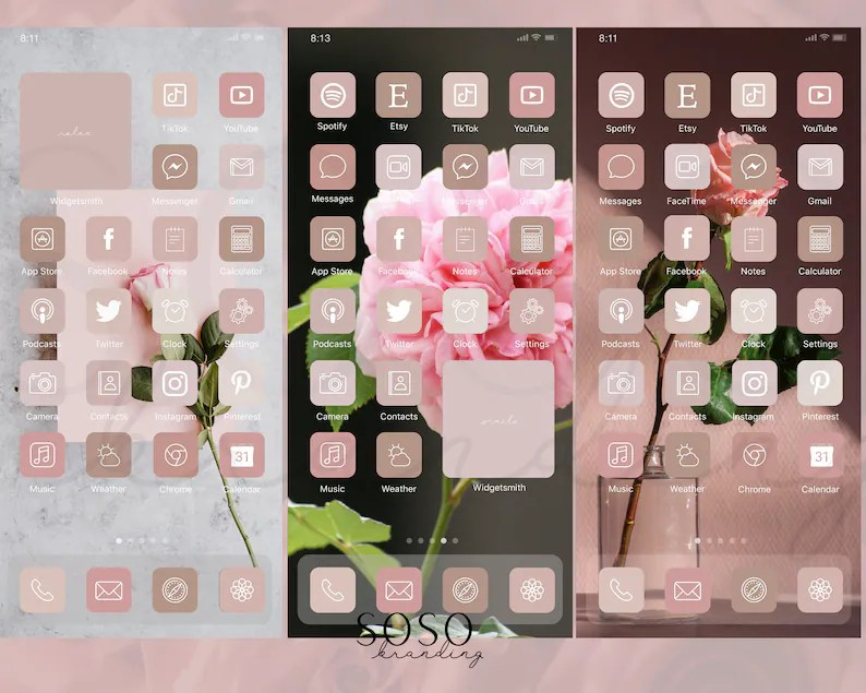 Looking for some calm in your life? Rose Pink Neutral Aesthetic 90 iPhone iOS 14 App Icons   Etsy