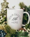 Blank White Christmas Coffee Glass Cup Mockup Styled Stock Etsy